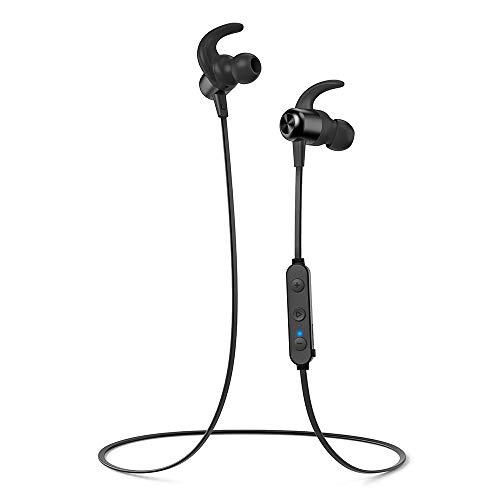 TaoTronics Cuffie Bluetooth 5.0 Magnetiche, Auricolari Impermeabili IPX6 Stereo Wireless Ultraleggere (20 Ore di Riproduzione, Magneti Integrati, Cancellazione del Rumore CVC 6.0, Microfono MEMS)