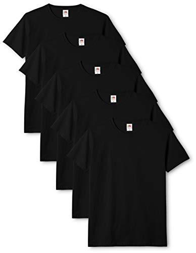 Fruit of the loom original t., t-shirt uomo, nero (black 36), medium(pacco da 5)