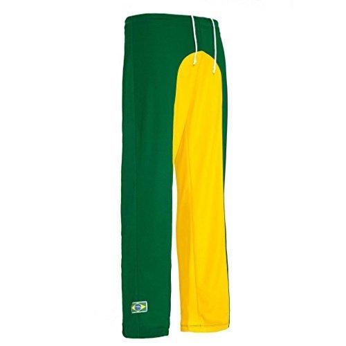 traditionellen Brasilianische Capoeira Hose Unisex Gelb Grün Abada Martial Arts Elastische Pants. (Shorts Gelb-track)