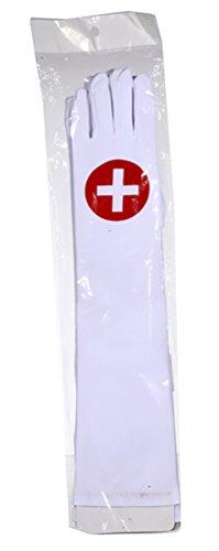 Preis am Stiel 1 Paar - Handschuh ''Krankenschwester'' lang | Fasching | Karneval | Frauenhandschuh | ()