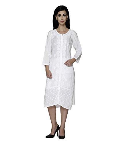 27a39b8e32b Ladies Tops Tunic Kurti Blouse Indian Chikankari Hand Embroidery Cotton Womens  Tunic