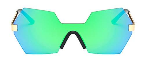 Tianba Mode Siamese Stück Randlos Sonnenbrillen Unisex Vieleck Gläser Anti UV Brillen Large-Gerahmte Flacher Spiegel