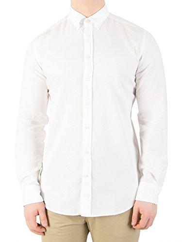 Hackett Herren Freizeithemd GMT Dye Delave Oxford, Weiß (Optic White), Large (Klassische Ausgestattet Shirt Formale)