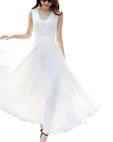 Brinny femme Robe de plage d'été grande taille mode Slim robe plissée longue bohème robe de mousseline maxi Blanc
