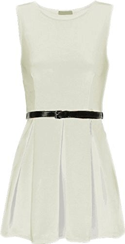 Comfiestyle - Robe - Patineuse - Sans Manche - Femme Blanc