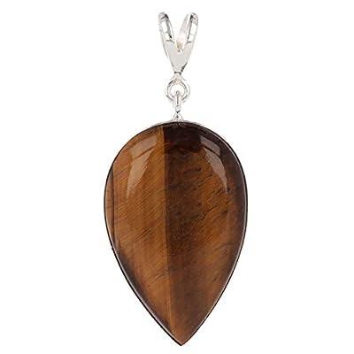 Idée cadeau Maman-Pierre d'oeil de tigre naturel-Pendentif brun Forme poire inversée-femme