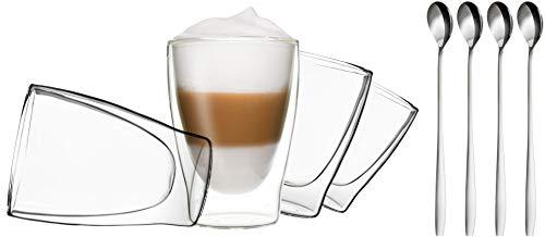 4X 310ML doppelwandige Occhiali + 4cucchiaio-Set Thermo Occhiali con effetto ondulato, anche per tè, tè freddo, succhi di frutta, Acqua, Cola, cocktail adatto, Duos By Feelino