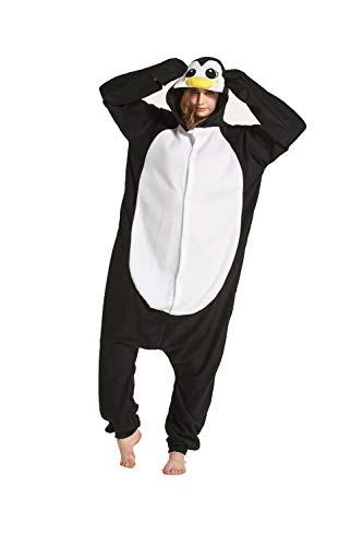 Fandecie Tier Kostüm Tierkostüm Tier Schlafanzug Pyjamas Jumpsuit Kigurumi Damen Herren Erwachsene Cosplay Tier Fasching Karneval Halloween (Schwarz Pinguin, S:Höhe 150-159cm)