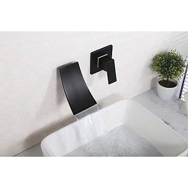 KAISIMYS Mediterraner weit verbreiteter Wasserfall mit Keramikventil Einhand Zwei Löcher für Schwarz, Waschbecken Wasserhahn
