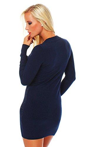 10670Fashion 4young robe mini robe en tricot pull long pull en 6couleurs 2tailles Bleu foncé