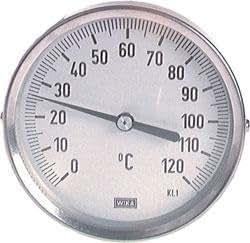 Bimetallthermometer - waagerecht - 63, 2°C, 0°C/+200°C, 160