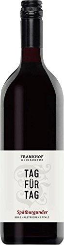 Tag für Tag Spätburgunder halbtrocken 1,0 l 2015 - Frankhof Weinkontor   halbtrockener Rotwein   deutscher Wein aus der Pfalz   1 x 1,00 Liter