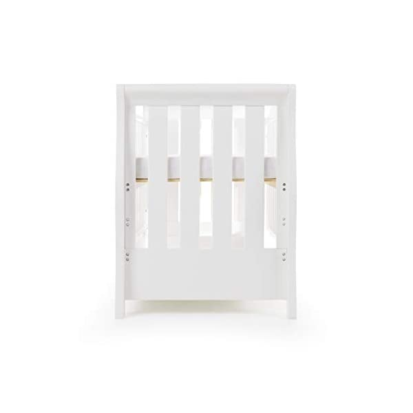 Obaby Stamford Sleigh Luxe Cot Bed - White Obaby Adjustable 3 position mattress height Bed ends split to transforms into toddler bed Includes matching under drawer for storage 12