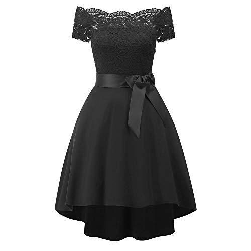 939a5e9cf9888 Yao High-End Short-Sleeved Lace Single Shoulder Stitching Elegant Female  Dress Black L