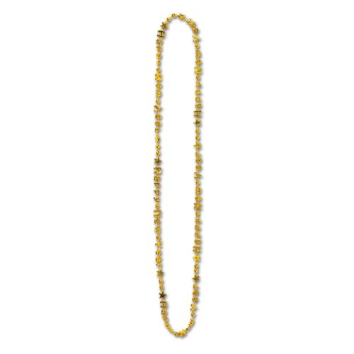 Beistle 80560KGD 144-pack Bulk Happy New Year beads-of-expression, 91,4cm - Perle-perlen-halsketten-bulk