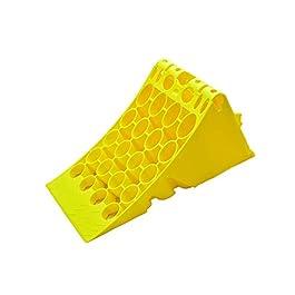 Solo supporto !!! Cuneo Bloccaruota giallo in plastica con protezione antiscivolo per camion o autobus zincato