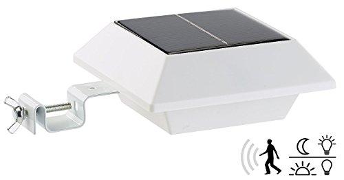 Lunartec Dachrinnen LED: Solar-LED-Dachrinnenleuchte mit PIR-Sensor, 160 lm, 2 Watt, IP44, weiß (Solar LED Leuchten für Dachrinnen)
