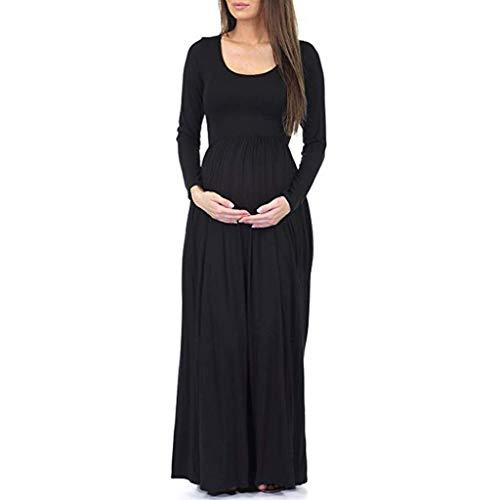 Fenverk Damen Umstandskleid Maternity Schwangerschafts- Und Still-Kleid Mit Lange äRmel Wickeln-Schicht Umstands-Kleid Schwangerschafts Taschen Kleid(Schwarz,L)