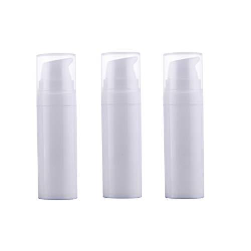 3 Stück weiße, leere Plastik-Bajonett-Vakuum-Flasche tragbare langlebige Mini Lotion Gesichtsreiniger, Essenzspender Dose, Kosmetik, Gesicht, Beauty, Aufbewahrungsbehälter