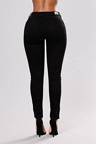 WanYang Donne Primavera Denim Ricamo Estate Autunno Jeans Strappato Elastico Slim Fit Donna Strappati Skinny Stirata Pantaloni Nero