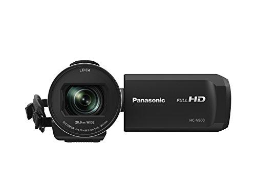Panasonic HC-V800EG-K Videocamera Compatta Full-HD, Grandangolo 25 mm, Zoom Ottico 24x, Wi-Fi, Nero