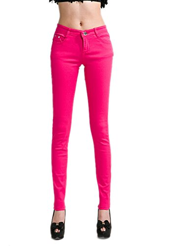 DELEY Damen Skinny Hose Pant Stretch Leg Jeans Juniors Röhre Leggings Treggings Hot Pink M