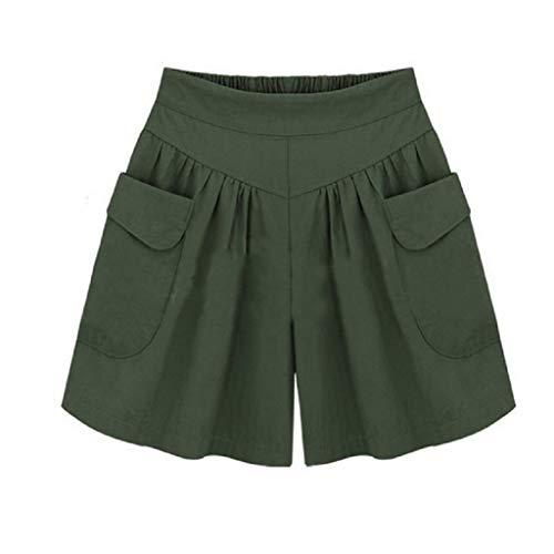 f7b42e57f6c97a Shorts Damen, feiXIANG Plus Size Hosen Gummiband Lady Hot Pants Casual  Solide Lose Taschen Summer Lady A-Linie Freizeithose (Grün,XXXXXL)