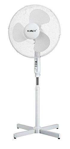 KEMOT Standventilator Standlüfter oszillierend, 3 Geschwindigkeitsstufen höhenverstellbarer Standfuß, 90 grad, 220 V / 50 Hz, 1 Stück, weiß, URZ3356