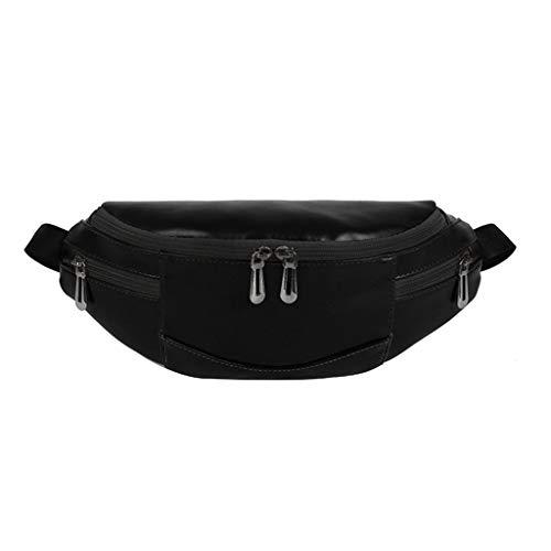 LABIUO Freizeittasche Wasserdicht Hüfttaschen,Mode PU Leder Umhängetasche Handgefertigte Tasche Outdoor-Sporttasche Reißverschlusstasche(Schwarz,Freie Größe) -