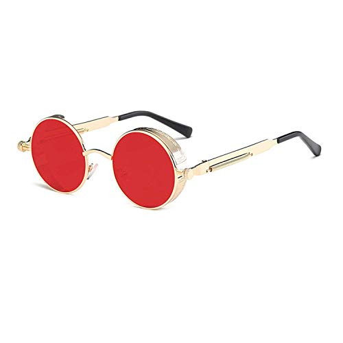 WERERT Sportbrille Sonnenbrillen Metal Round Steampunk Sunglasses Men Women Fashion Glasses Retro Frame Vintage Sunglasses Uv400