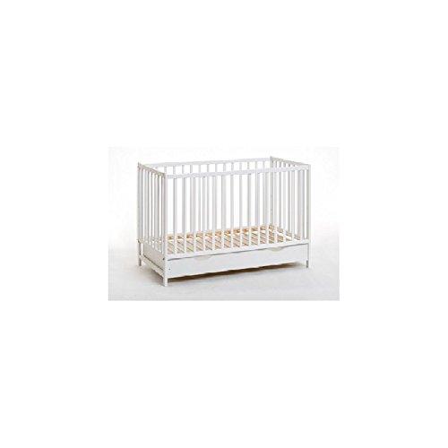 Blanc classique en bois de pin pour lit de bébé Cypi avec matelas en mousse de 10,2 cm et tiroir 120 x 60/inclus/3 position Base/3 bars détachables