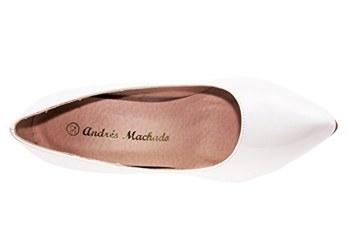 Andres Machado AM5091.Escarpins Stiletto à Bout Fin en Soft.Petites Pointures 32/35.Grandes Pointures 42/45. Blanc.N