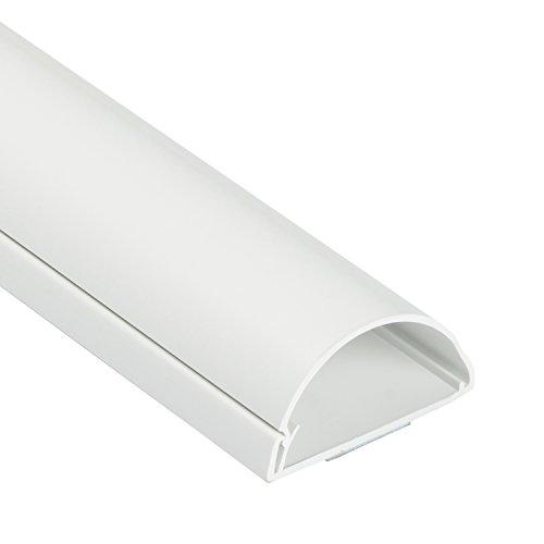 D-Line 1M5025W TV halbrunder Kabelkanal | Kabelabdeckung | 50x25 mm, 1 m Länge - Weiß -
