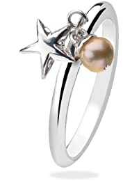 Virtue Silver Stackable VRS3034 Hanging Star with White Pearl Ring