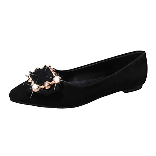 ZIYOU Arbeits Berufsschuhe Damen Geschäft Einzelne Flache mit Glitter Glitzersteine Frauen Spitze Zehe Schuhe Freizeitschuhe(Schwarz,35 EU)