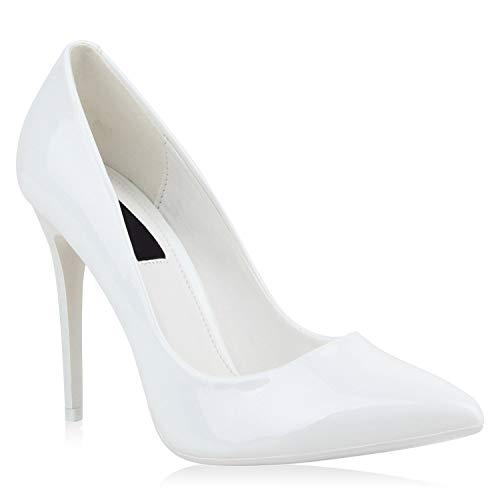 Stiefelparadies Spitze Damen Pumps Lack Stiletto High Heels Metallic Party Glitzer Abiball Hochzeit Schuhe 107007 Weiss 38 Flandell