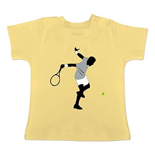 Sport Baby - Tennis Squash Spieler - 1-3 Monate - Hellgelb - BZ02 - Baby T-Shirt Kurzarm
