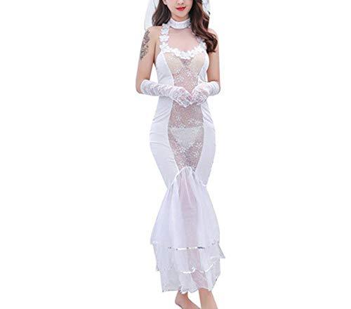 SQY Sexy Dessous Set transparente Spitze Langen Rock Brautkleid Hochzeitsrock Uniform Versuchung