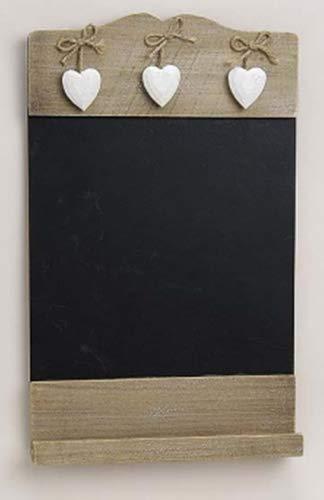 Tableau mémo ardoise rustique avec 3 cœurs