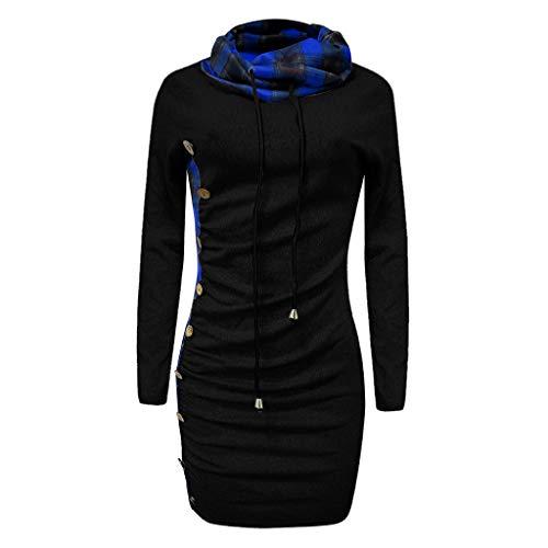 Hoodie Sweatshirt Dasongff Damen Frauen Kapuzenpullover mit Hohem Kragen Feste Sweatshirt Pullover Tops Slim Fit PulloverKleid … -
