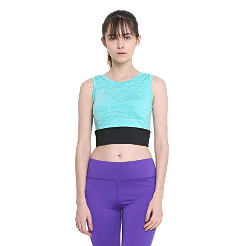 CHKOKKO Polyester Women's Yoga Pushup Sports Gym Strechable Crop Top Yellow Size M