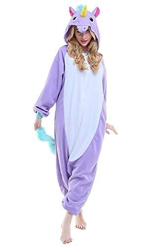 Adulte Flanelle Pyjama Licorne Combinaison Animaux Unicorn, Violet Unicorn, S fit for Height 145-155CM (57Inch-61Inch)