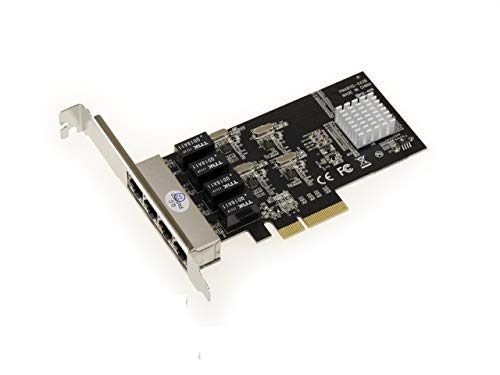 Kalea-Informatique - Scheda di controllo PCI Express (PCIe) - 4 porte RJ45  Gigabit Ethernet 10/100/1000Mbps - Full Duplex - Wake si lan - quadrupla