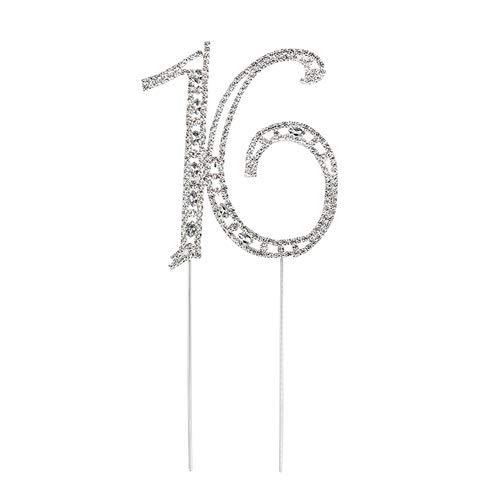 e Kristall 16 Sweet Seize Ziffern Strass Kuchen Geburtstag Tortendeko Tortendeko ()