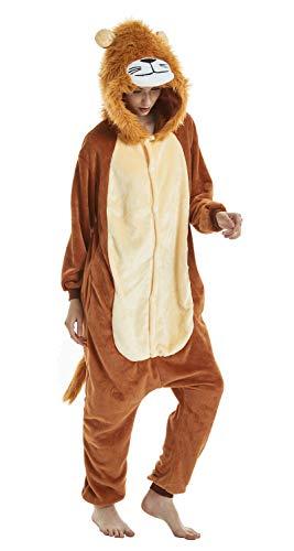 Onesie pigiama animale, adulto unisex pigiama cosplay costume cartone animato homewear indumenti da notte quotidiani (leone, s)