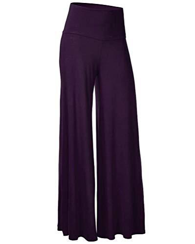 Graue Lounge-hose (Damen Lange Stretch Slinky Schlaghosen Hose Weite Beinhosen Einfarbig Hohe Taille Palazzo Lounge Hose Violett XL)