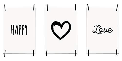 myprinti® 3er Set Bilder Sprüche Poster Kunstdruck Liebe Love | Schlafzimmer Bett Wohnzimmer | Wanddeko Deko | Größe DIN A5 | Happy, Herz, Love - Groß-poster-bett