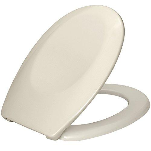 Preisvergleich Produktbild Wenko 17452100 WC-Sitz Bergamo Beige - verstellbare, rostfreie Edelstahlbefestigung, Kunststoff - Duroplast, 37.2 x 44.4 cm, Beige