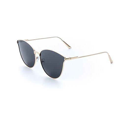 Quadratischer Rahmen polarisierte Sonnenbrille-Frauen-im Freien Spielraum-Gläser Mode-klassischer großer Rahmen-treibender Spiegel-Goldener Rahmen-Blau-Spiegel-Kupfer