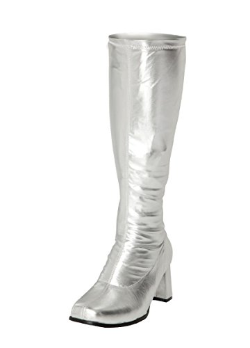 Ladies Silver Go Go Retro Boots Size UK 3-12. Other Colours Available.